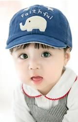 หมวกแก๊ปเด็กผ้าลูกฟูกปักรูปช้าง Falthful