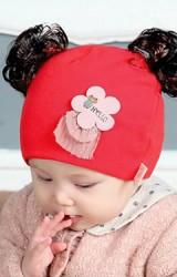 หมวกปอยผมแต่งดอกไม้สกรีนหมีน้อย HELLO จาก TIANYIBEAR