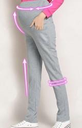กางเกงคนท้องขายาว กระเป๋าหน้าแต่งป้ายกระต่ายเล็กๆ