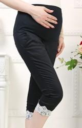 กางเกงคลุมท้อง 4 ส่วน ปลายขาพับแต่งลูกไม้ขาว