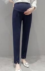 กางเกงคลุมท้องขายาว ปลายขาแตกแต่งกระดุมเพชรเทียมเล็กๆ