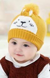 หมวกไหมพรมกระต่ายหูเล็กตั้ง ด้านบนแต่งปอม
