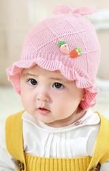 หมวกไหมพรมสาวน้อยแต่งแครอทคู่ ด้านบนหูกระต่าย