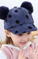 หมวกแก๊ปผ้าลูกฟูกลายจุดแต่งปอมปอมน่ารัก  KUKUJI