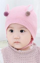 หมวกไหมพรมเด็กแต่งหูกระต่าย สายคล้องคางติดกระดุม