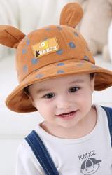 หมวก Bucket ผ้าลูกฟูกสกรีนอักษร K J แต่งหูจาก KUKUJI