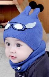 หมวกไหมพรมลายแว่นตาแต่งปีกน่ารัก