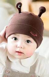 หมวกบีนนี่เด็กผ้ายืดแต่งหนวดตั้งปักรูปปาก