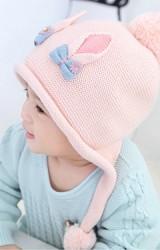 หมวกไหมพรมหูแหลมและโบว์น่ารัก พร้อมสายห้อยปอมปอม Bilamila