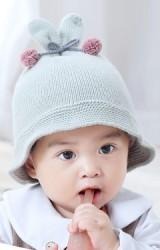 หมวกไหมพรมหูกระต่ายผูกโบว์ปอมปอมน่ารัก  Bilamila