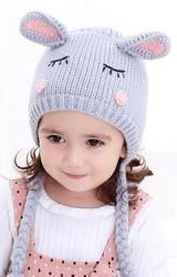 หมวกไหมพรมกระต่ายหลับปุ๋ย เปียห้อยน่ารัก