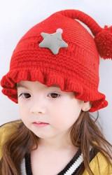 หมวกไหมพรมขอบหมวกระบายแต่งดาวนูน