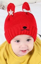 หมวกไหมพรมกระต่ายหูตั้งแต่งดาวและโบว์น่ารัก