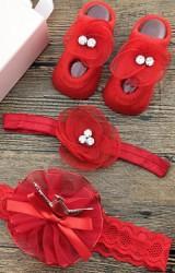 เซ็ตถุงเท้าเด็กมาพร้อมสายคาดผมสีแดง ถุงเท้าแต่งดอกไม้ สายคาดผมมงกุฎและดอกไม้