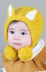 หมวกไหมพรมหูแหลมแต่งปอมปอมน่ารัก