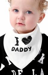 ผ้ากันเปื้อนสามเหลี่ยมเซ็ต 2 ชิ้น ลาย I LOVE DADDY  & MOMMY