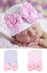 หมวกสาวน้อยแรกเกิดแต่งโบว์กุหลาบ