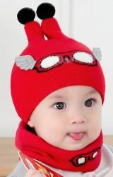 เซ็ตหมวกไหมพรมเด็กลายแว่นตาแต่งปีกน่ารักๆ  มาพร้อมผ้าสวมคอ