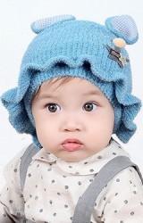 หมวกไหมพรมสาวน้อยแต่งหูกระต่ายชายระบาย แต่งดาว