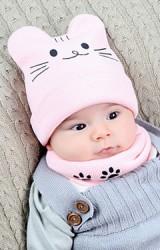 เซ็ตหมวกไหมพรมแมวน้อยน่ารักมาพร้อมผ้าสวมคอ