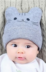 หมวกไหมพรมพรมแมวน้อยน่ารัก