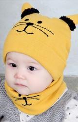 เซ็ตหมวกไหมพรมการ์ตูนแมวน้อยมาพร้อมผ้าสวมคอ