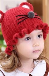หมวกไหมพรมแมวน้อยหูกลม ขอบระบายน่ารัก