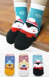 ถุงเท้าเด็กเซ็ตปีใหม่(C023) แบบหนาแพ็ค 3 คู่ ลายสัตว์น่ารัก