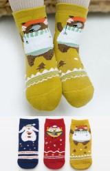 ถุงเท้าเด็กน่ารัก(C025) แบบหนาแพ็ค 3 คู่ ลายสัตว์น่ารัก