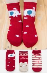 ถุงเท้าเด็กน่ารัก(C026) แบบหนาแพ็ค 3 คู่ โทนสีแดง