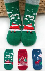 ถุงเท้าเด็กเซ็ตปีใหม่(C027) แบบหนาแพ็ค 3 คู่ สีเขียว แดง และ น้ำเงิน