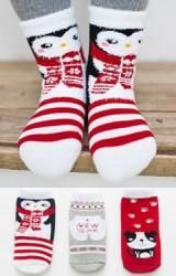 ถุงเท้าเด็กเซ็ตปีใหม่(C029) แบบหนาแพ็ค 3 คู่ โทนแดง-เทา