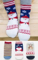 ถุงเท้าเด็กเซ็ตปีใหม่(C030) แบบหนาแพ็ค 3 คู่  สีน้ำเงิน เทา และ ลายขวาง
