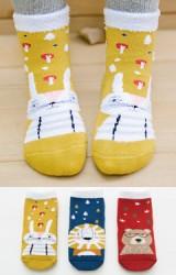 ถุงเท้าเด็กน่ารัก(C031) แบบหนาแพ็ค 3 คู่ ลายสัตว์น่ารัก