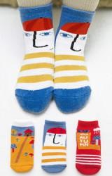 ถุงเท้าเด็กน่ารัก(C034) แบบหนาแพ็ค 3 คู่  โทนแดง-เหลือง-น้ำเงิน