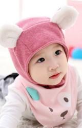 หมวกผูกคางแต่งหูเล็กผ้าขนฟูน่ารัก