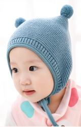 หมวกไหมพรมแบบผูกคางแต่งปอมเล็กน่ารัก
