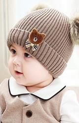 หมวกไหมพรมแต่งหมีน้อยผูกโบว์น่ารัก ด้านบนปอมขนมิ้ง