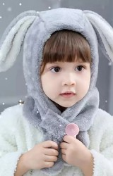 หมวกกระต่ายหูยาวพร้อมผ้าพันคอในตัว