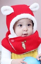 หมวกกันหนาวหมีน้อยผ้าพันคอในตัวซับผ้าขน