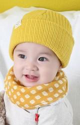 หมวกไหมพรมพับขอบ แต่งป้าย Smile