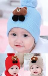 หมวกไหมพรมเด็กแต่งหมีน้ำตาลด้านบนปอมๆ ขนมิ้ง