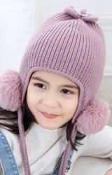 หมวกไหมพรมสาวน้อยด้านบนแต่งโบว์หูกระต่ายยาว