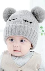 หมวกไหมพรมหลับตาแต่งปอมขนมิ้งน่ารัก