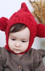 หมวกไหมพรมยอดแหลมด้านข้างแต่งปอมปอมน่ารัก