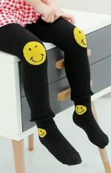 เซ็ตกางเกงเลคกิ้งเด็กสีดำลายการ์ตูนยิ้มมาพร้อมถุงเท้า