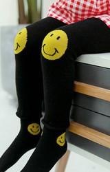 กางเกงเลคกิ้งเด็กสีดำลายการ์ตูนยิ้มมา(ไม่มีถุงเท้า)