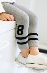 กางเกงเลคกิ้งเด็กเลข 8 ปลายขาลายขวาง