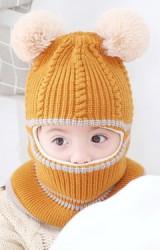 หมวกโม่งเด็กแต่งปอมแบบคลุมหัวเปิดหน้าพร้อมเป็นผ้าพันคอ