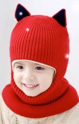 หมวกโม่งเด็กแต่งหูแหลมแบบคลุมหัวเปิดหน้าพร้อมเป็นผ้าพันคอ